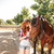 jonge · vrouw · zorg · paard · vrouw · glimlach - stockfoto © deandrobot