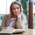 девушки · чтение · книга · кафе · портрет · счастливая · девушка - Сток-фото © deandrobot