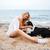 kobieta · psa · plaży · gry · morza · piasku - zdjęcia stock © deandrobot