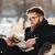 yakışıklı · genç · sakallı · adam · oturma · açık · havada - stok fotoğraf © deandrobot