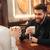 vrolijk · liefhebbend · paar · vergadering · cafe · foto - stockfoto © deandrobot