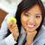 jóvenes · feliz · mujer · de · negocios · manzana · oficina - foto stock © deandrobot