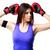 fitnessz · nő · visel · boxkesztyűk · boxoló · box · kezek - stock fotó © deandrobot