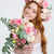 bela · mulher · vermelho · flores · vermelhas · rosas · estúdio - foto stock © deandrobot