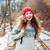 fiatal · elégedett · nő · piros · kalap · ül - stock fotó © deandrobot