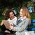 femminile · amici · guardando · tablet · ridere · seduta - foto d'archivio © deandrobot