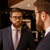 serious young bearded businessman looking at mirror stock photo © deandrobot