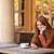 sorridere · giovani · donna · seduta · cafe - foto d'archivio © deandrobot
