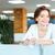 femme · d'affaires · verre · eau · permanent · bureau - photo stock © deandrobot