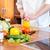 szakács · vág · zöld · uborka · konyha · kezek - stock fotó © deandrobot