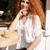 gekruld · jonge · mooie · vrouw - stockfoto © deandrobot