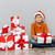 küçük · sevimli · erkek · oturma · hediye · Noel - stok fotoğraf © deandrobot