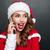笑顔の女性 · サンタクロース · 帽子 · 話し · 携帯電話 · 笑みを浮かべて - ストックフォト © deandrobot