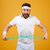 happy bearded fitness man measuring his waist with tape stock photo © deandrobot