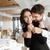 loving happy couple hugging in restaurant indoors stock photo © deandrobot