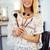 mulher · pó · escove · mulher · bonita - foto stock © deandrobot