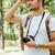 sério · barbudo · homem · em · pé · floresta - foto stock © deandrobot