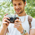 jonge · mannelijke · fotograaf · wandelen · bos · latino - stockfoto © deandrobot