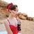 fiatal · nő · ül · homok · pléd · nő · fiatal - stock fotó © deandrobot