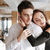 loving happy couple standing and hugging in restaurant stock photo © deandrobot