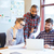 счастливым · деловые · люди · рабочих · портативного · компьютера · группа - Сток-фото © deandrobot