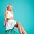 retrato · sorridente · mulher · loira · sessão · cadeira · isolado - foto stock © deandrobot