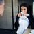 üzletasszony · dolgozik · ebédszünet · kávézó · ír · boldog - stock fotó © deandrobot