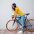 encantador · mulher · bicicleta · retrato · cinza - foto stock © deandrobot