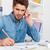 sério · empresário · falante · telefone · trabalhando · escritório - foto stock © deandrobot