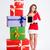 幸せ · 女性 · サンタクロース · 布 · 立って · ギフトボックス - ストックフォト © deandrobot