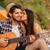 Pareja · besar · playa · guitarra · música · sonrisa - foto stock © deandrobot