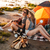 happy young cheerful couple in love having fun camping stock photo © deandrobot