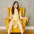 függőleges · kép · nő · ül · fotel · citromsárga - stock fotó © deandrobot