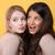 genç · iki · kadınlar · ayakta · sarı - stok fotoğraf © deandrobot
