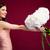улыбаясь · очаровательный · женщину · цветы · розовый - Сток-фото © deandrobot