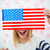 kobieta · oczy · USA · banderą · wesoły · strony - zdjęcia stock © deandrobot