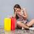 verwonderd · opgewonden · jonge · vrouw · naar · zakken · verwonderd - stockfoto © deandrobot