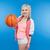 female teenager holding basketball ball stock photo © deandrobot