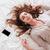 sonolento · mulher · telefonema · cama · telefone · móvel · telefone - foto stock © deandrobot