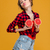 funny playful woman having fun with two halves of grapefruit stock photo © deandrobot