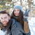 happy couple walking in winter park stock photo © deandrobot