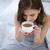 vrouw · drinken · koffie · bed · home · meisje - stockfoto © deandrobot