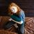 verlegen · meisje · Rood · portret · ogen · jonge - stockfoto © deandrobot