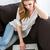 charmant · vrouw · surfen · internet · sofa · home - stockfoto © deandrobot