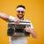 alegre · moço · óculos · de · sol · fita - foto stock © deandrobot