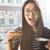 vrouw · eten · cake · mooie · geïsoleerd - stockfoto © deandrobot