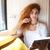 довольно · молодые · Lady · сидят · кафе · чтение - Сток-фото © deandrobot