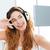 retrato · feliz · mulher · música · fones · de · ouvido - foto stock © deandrobot