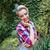 derűs · aranyos · pinup · lány · kockás · póló - stock fotó © deandrobot