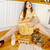 Amazing young pin-up lady sitting on floor and cooking stock photo © deandrobot